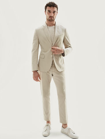SLIM FIT PLAIN COTTON TROUSERS