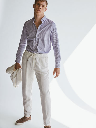 HERRINGBONE TROUSERS WITH DARTS