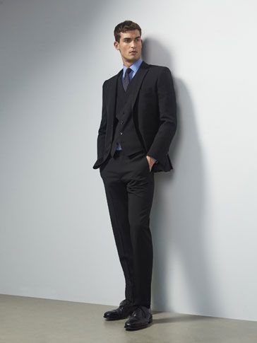 BLACK WOOL SLIM FIT TROUSERS