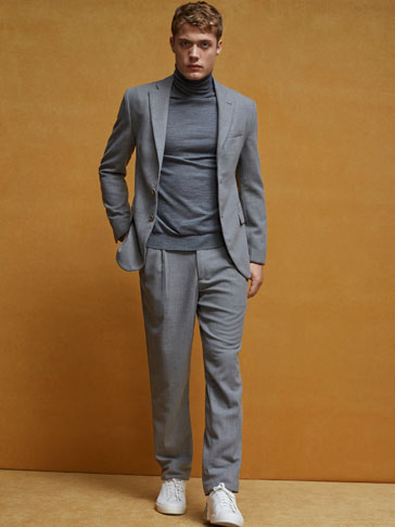 LIMITED EDITION SLIM FIT GREY WORSTED WOOL TROUSERS