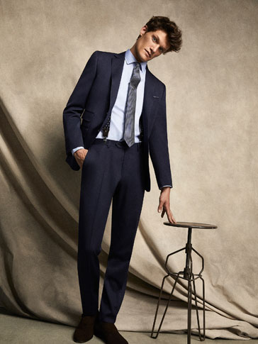 LIMITED EDITION SLIM FIT NAVY BLUE WOOL TWILL TROUSERS