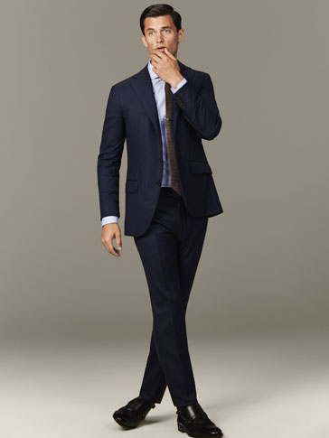 FALSE-PLAIN NAVY BLUE TROUSERS