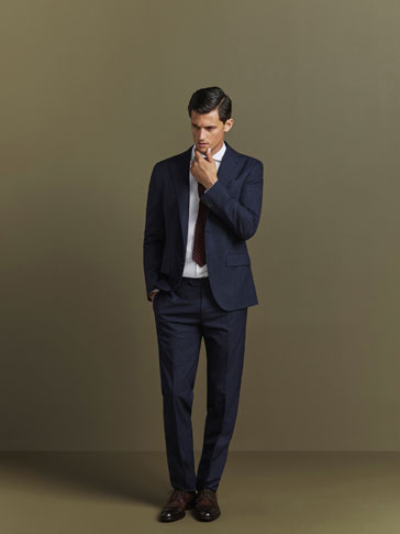 CHECKED NAVY BLUE TROUSERS