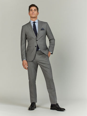 GREY WOOL SLIM FIT TROUSERS