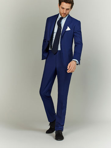 TWO-TONE WOOL SLIM FIT TROUSERS