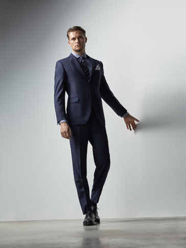 SLIM FIT BLUE TEXTURED WEAVE WOOL TROUSERS