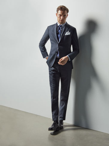 SLIM FIT FALSE-PLAIN WOOL SUIT TROUSERS