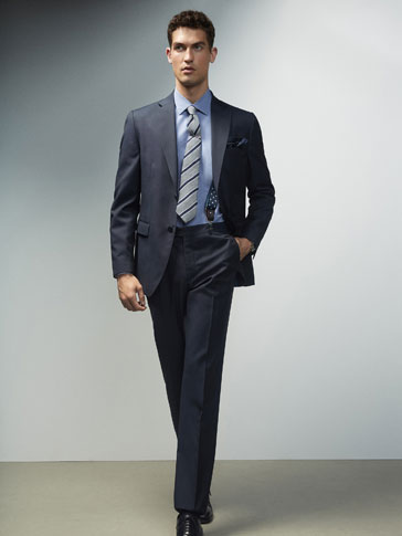 SLIM FIT NAVY BLUE TEXTURED WOOL TROUSERS
