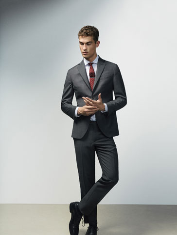 SLIM FIT CHECKED TEXTURED WOOL TROUSERS