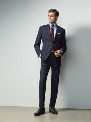 SLIM FIT NAVY BLUE FIL À FIL WOOL TROUSERS
