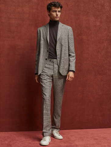 LIMITED EDITION SLIM FIT CHECKED WOOL TROUSERS