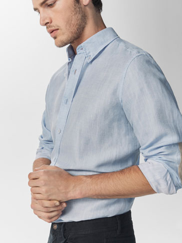 SKY BLUE SLIM SHIRT WITH ELBOW PATCHES