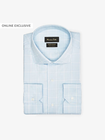 TRAVEL COLLECTION CHECKED TWILL SLIM FIT SHIRT