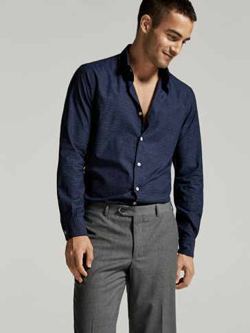 SLIM FIT MICRO-CHECKED COTTON SHIRT