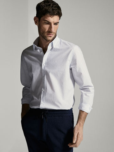 SLIM FIT STRIPED COTTON SHIRT WITH ELBOW PATCHES