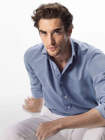 SLIM FIT STONE-WASHED BLUE COTTON/LINEN SHIRT