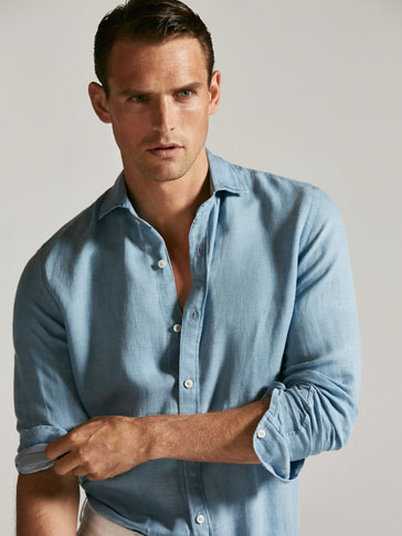 SLIM FIT DENIM AND LINEN SHIRT