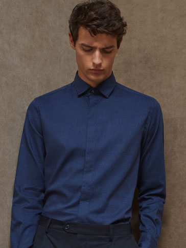 LIMITED EDITION SLIM FIT NAVY BLUE COTTON SHIRT