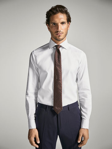 CAMISA LISA MICROESTRUCTURA PUÑO DOBLE TAILORED