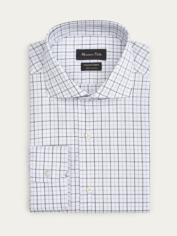 SLIM FIT CHECKED TWILL SHIRT