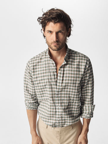 SLIM FIT CHECKED LINEN/COTTON SHIRT