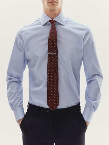 SLIM FIT MICRO STRIPED POPLIN SHIRT