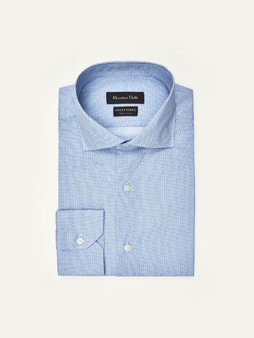 SLIM FIT MICRO HERRINGBONE PRINT POPLIN SHIRT