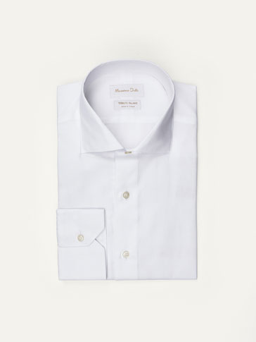 WHITE TWILL SLIM FIT SHIRT