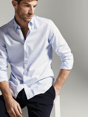SLIM FIT SKY BLUE SHIRT WITH TEXTURED WEAVE