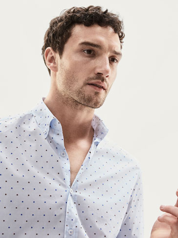 SLIM FIT TWO-TONE JACQUARD POLKA DOT SHIRT