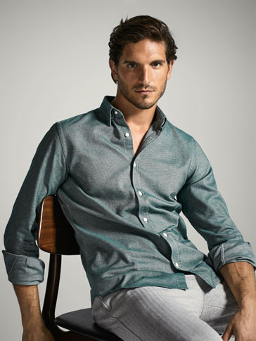 SLIM FIT SHIRT WITH TEXTURED WEAVE