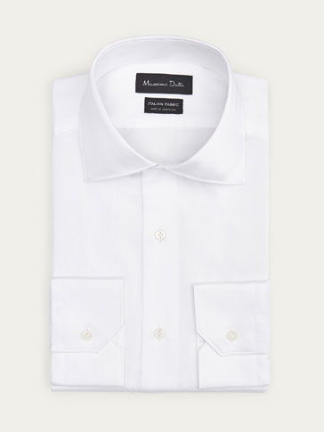 LIMITED EDITION SLIM FIT FALSE SOLID-COLOURED HERRINGBONE SHIRT