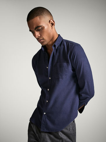 SLIM FIT TEXTURED WEAVE SHIRT WITH CONTRASTING DETAIL