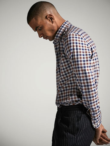 SLIM FIT MULTICOLOURED GINGHAM SHIRT WITH ELBOW PATCHES