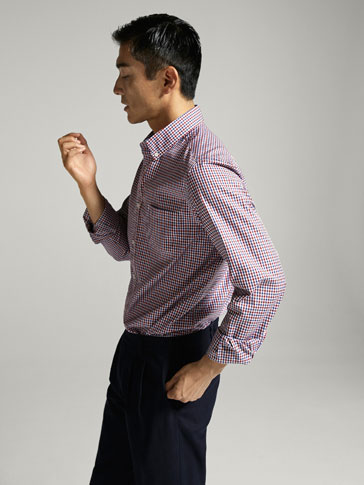 CASUAL FIT MICRO GINGHAM CHECKED SHIRT