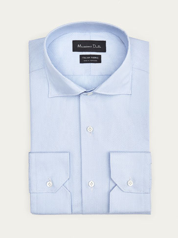 LIMITED EDITION POLKA DOT SLIM FIT COTTON SHIRT WITH TEXTURED WEAVE