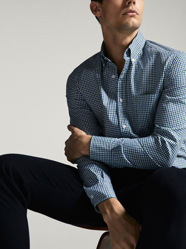 CASUAL FIT MICRO GINGHAM CHECKED SHIRT WITH ELBOW PATCHES