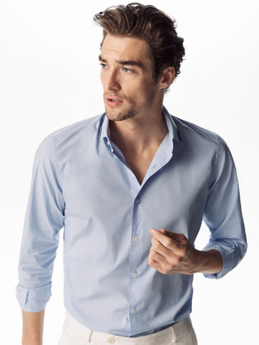 PLAIN SLIM FIT SHIRT WITH KNIT DETAIL