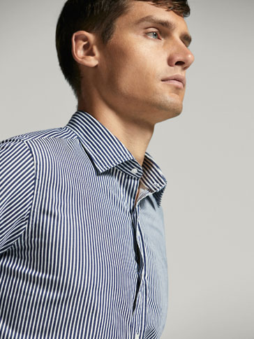 SLIM FIT BLUE STRIPED SHIRT