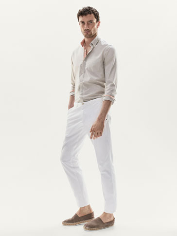 SLIM FIT FIL À FIL SHIRT WITH CONTRASTING TRIMS
