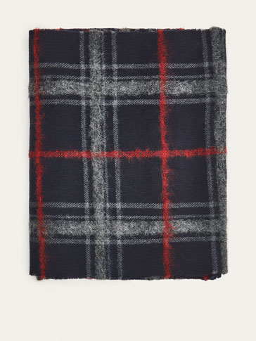 WOOL SCARF WITH RED CHECKED PRINT