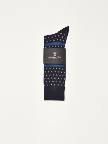 MERCERISED COTTON SOCKS WITH PATTERN MOTIFS