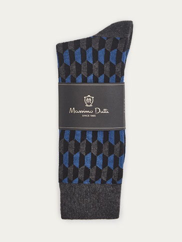 NAVY BLUE GEOMETRIC DESIGN BRUSHED COTTON SOCKS