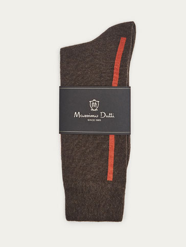 CONTRASTING STRIPED BRUSHED COTTON SOCKS
