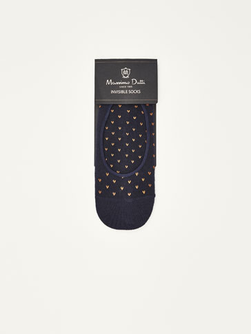 COMBED COTTON NO SHOW SOCKS WITH PATTERN MOTIFS