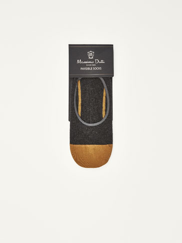 COMBED COTTON NO SHOW SOCKS WITH CONTRASTING STRIPES