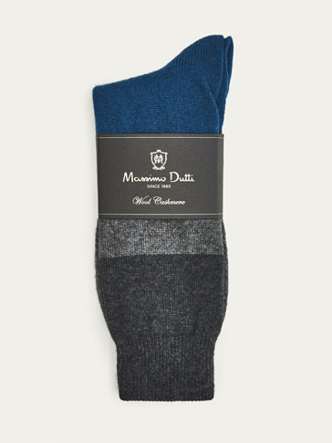 LIMITED EDITION WOOL/CASHMERE COLOUR BLOCK SOCKS