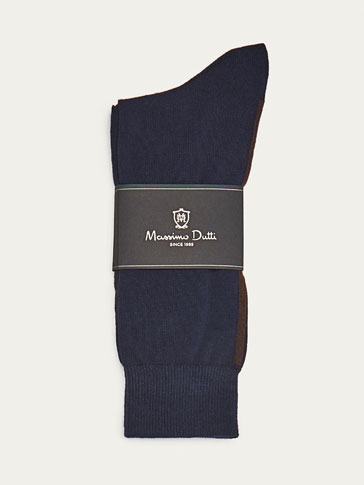 COMBED COTTON SOCKS WITH BLUE OUTLINE DETAIL