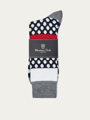 MERCERISED COTTON SOCKS WITH CONTRASTING POLKA DOT DETAIL