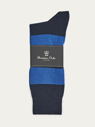 SOFT COMBED COTTON COLOUR BLOCK SOCKS